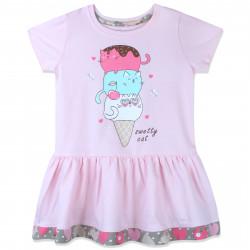 Платье для девочки, нежно-розовое. Котики - мороженко.