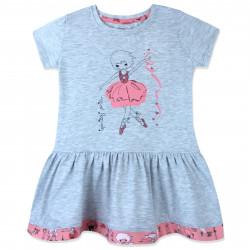 Платье для девочки, серое. Танцующая балерина.