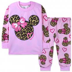 Пижама для девочки, розовая. Леопардовый Минни Маус.