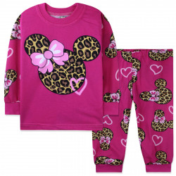 Пижама для девочки, малиновая. Леопардовый Минни Маус.
