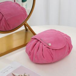 Косметичка на затяжках велюровая, косметичка-несессер, розовая. Ретро.
