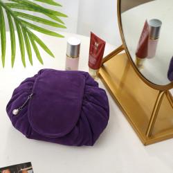 Косметичка на затяжках велюровая, косметичка-несессер, фиолетовая. Ретро.
