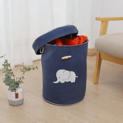 Корзина для игрушек с игровым ковриком-мешком, синяя. Слоник.
