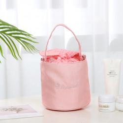 Корзина-мешочек на завязках для мелочей, розовая. Travel.