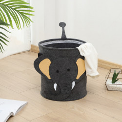 Корзина фетровая для игрушек с игровым ковриком-мешком, черная. Слоник.