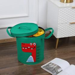 Корзина фетровая с крышкой для игрушек с игровым ковриком-мешком, зеленая. Дракон.