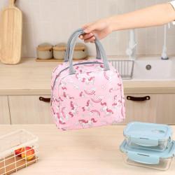 Термосумка, ланч-бокс, сумка для обедов, розовая. Единороги и радуги.