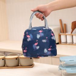 Термосумка, ланч-бокс, сумка для обедов, темно-синяя. Фламинго.