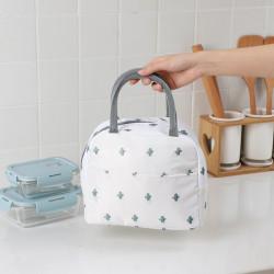 Термосумка, ланч-бокс, сумка для обедов, белая. Кактусы.