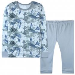 Пижама для мальчика, серая. Маяк и компас.