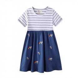Платье для девочки, синее. Радуги и кометы.