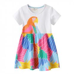 Платье для девочки, белое. Попугай Ара.