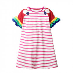 Платье для девочки, розовое. Яркие попугайчики.