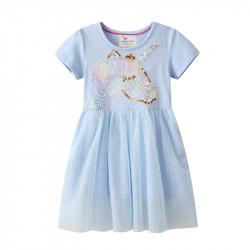 Платье для девочки, голубое. Мерцающий единорог.