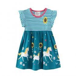 Платье для девочки, бирюзовое. Единороги в поле.