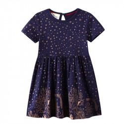 Платье для девочки, темно-синие. Золотые рисунки.