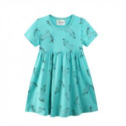 Платье для девочки, голубое. Единороги в горошек.