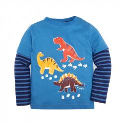 Кофта для мальчика, реглан, синяя. Динозавры и их следы.