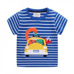 Футболка для мальчика, синяя. Динозавры в такси.