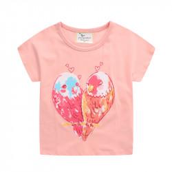 Футболка для девочки, розовая. Попугайчики неразлучники.