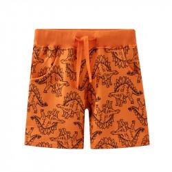 Шорты для мальчика, оранжевые. Стегозавр.
