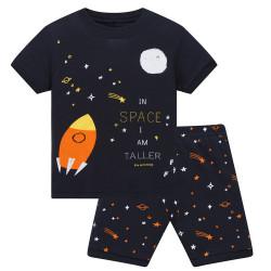 Пижама для мальчика, синяя. Ракета и звезды.