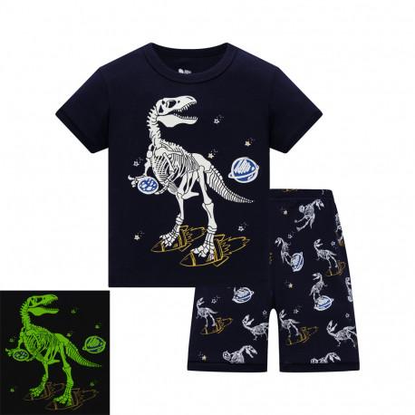 Пижама для мальчика, черная. Скелет динозавра.