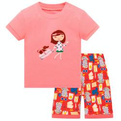 Пижама для девочки, розовая. Девочка с чемоданом.