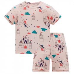 Пижама для девочки, розовая. Фея и замок.