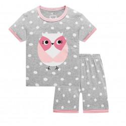 Пижама для девочки, серая. Розовая сова.