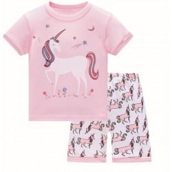 Пижама для девочки, розовая. Единорог и звездное небо.