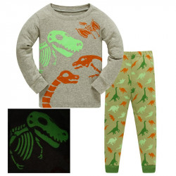 Пижама для мальчика, серая. Скелеты динозавров.