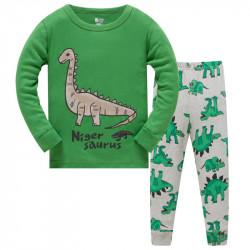 Пижама для мальчика, зеленая. Диплодок.