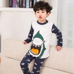 Пижама для мальчика, темно-синяя. Веселая акула.