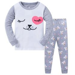 Пижама для девочки, серая. Милый щенок.