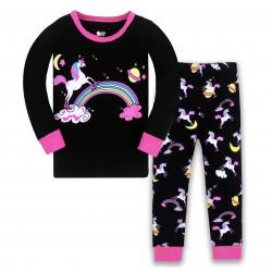 Пижама для девочки, черная. Единорог на радуге.