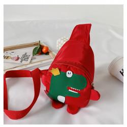 Рюкзак через плечо , мини-рюкзак, рюкзак на одно плечо, красный. Динозавр - король.