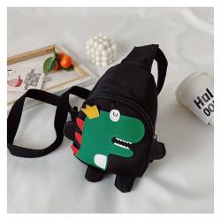 Рюкзак через плечо , мини-рюкзак, рюкзак на одно плечо, черный. Динозавр - король.