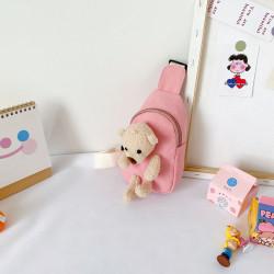 Рюкзак через плечо , мини-рюкзак, рюкзак на одно плечо, розовый. Мишка Тедди.