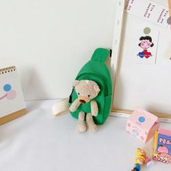Рюкзак через плечо , мини-рюкзак, рюкзак на одно плечо, зеленый. Мишка Тедди.