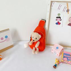 Рюкзак через плечо , мини-рюкзак, рюкзак на одно плечо, оранжевый. Мишка Тедди.