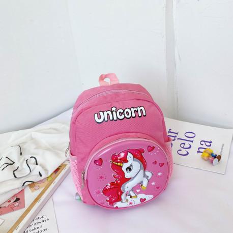 Детский рюкзак, розовый. Единорог и сердечка.