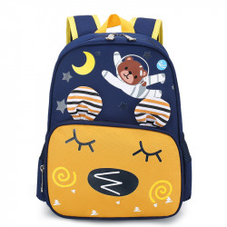 Детский рюкзак, желтый карман. Мишка - космонавт.