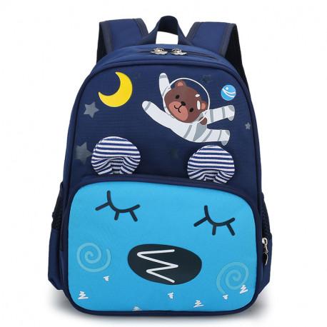 Детский рюкзак, синий карман. Мишка - космонавт.