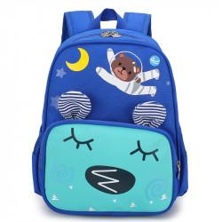 Детский рюкзак, голубой карман. Мишка - космонавт.