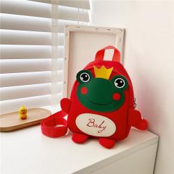 Детский рюкзак, красный. Лягушонок с короной.