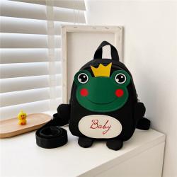 Детский рюкзак, черный. Лягушонок с короной.