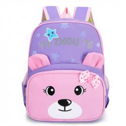 Детский рюкзак, школьный, сиреневый. Мишутка.
