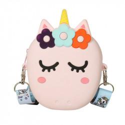 Сумка силиконовая детская, сумка через плечо, розовая. Единорог в веночке.