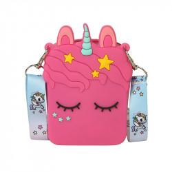 Сумка силиконовая детская, сумка через плечо, малиновая. Единорог и звездочки.